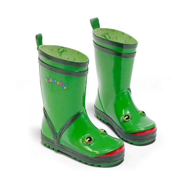 The Kidorable Frog Rain Boot is designed for toddlers and little kids alike.  They are a waterproof rubber boot with a frog motif and a grippy outsole for good traction in wet and slippery conditions.
