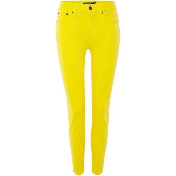 Lauren Ralph Lauren Slim leg cropped jean ($110) ❤ liked on Polyvore featuring jeans, pants, jean, women, yellow, lauren ralph lauren, lauren ralph lauren jeans, slim leg jeans, cropped jeans and yellow jeans