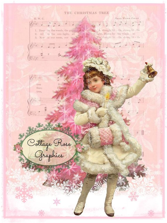 Pink Christmas Tree girl with muff and bell Large digital download  ECS buy 3 get one free  single image printable ECS