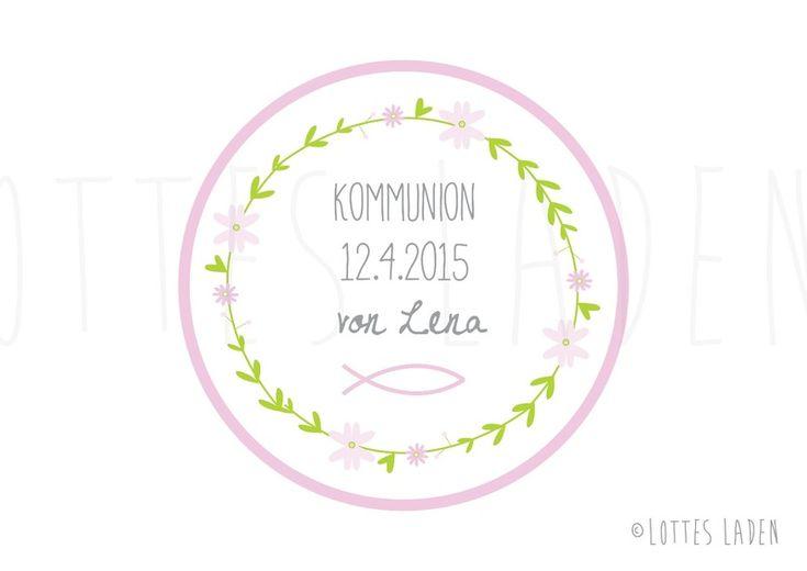 24 individuelle Aufkleber Kommunion Namenssticker von Lottes Laden auf DaWanda.com