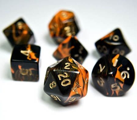 Oblivion Dice (Orange) are just the thing for your latest role playing adventures! Each RPG dice set includes all the polyhedral game dice you need for your favorite RPG. The Oblivion collection featu