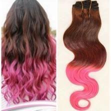 """1 pièce 100% human hair weaving, 2 Tone Unprocessed virign human hair # 4 pink Brazilian Ombre Hair Weft 12""""-30"""".Cheveux Vierge, 100% de tissage de cheveux humains, 2 Tone non transformés vierge de cheveux humaine # 4 rose brésilien Ombre cheveux de trame, vague de corps."""