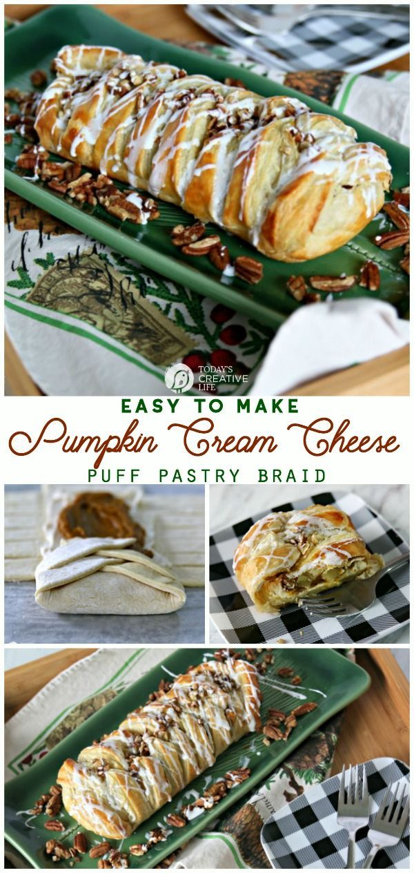 Pumpkin Cream Cheese Puff Pastry Braid   Easy dessert or holiday brunch recipe   Holiday party planning   Simple Holiday Recipes   TodaysCreativeLife.com #SeasonEatings2017 #ad