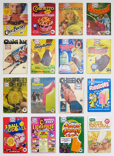 Retro Australian Ice-cream bars  (I can't remember a couple of these?  Cheeky?....maybe I've suppressed the memory....)