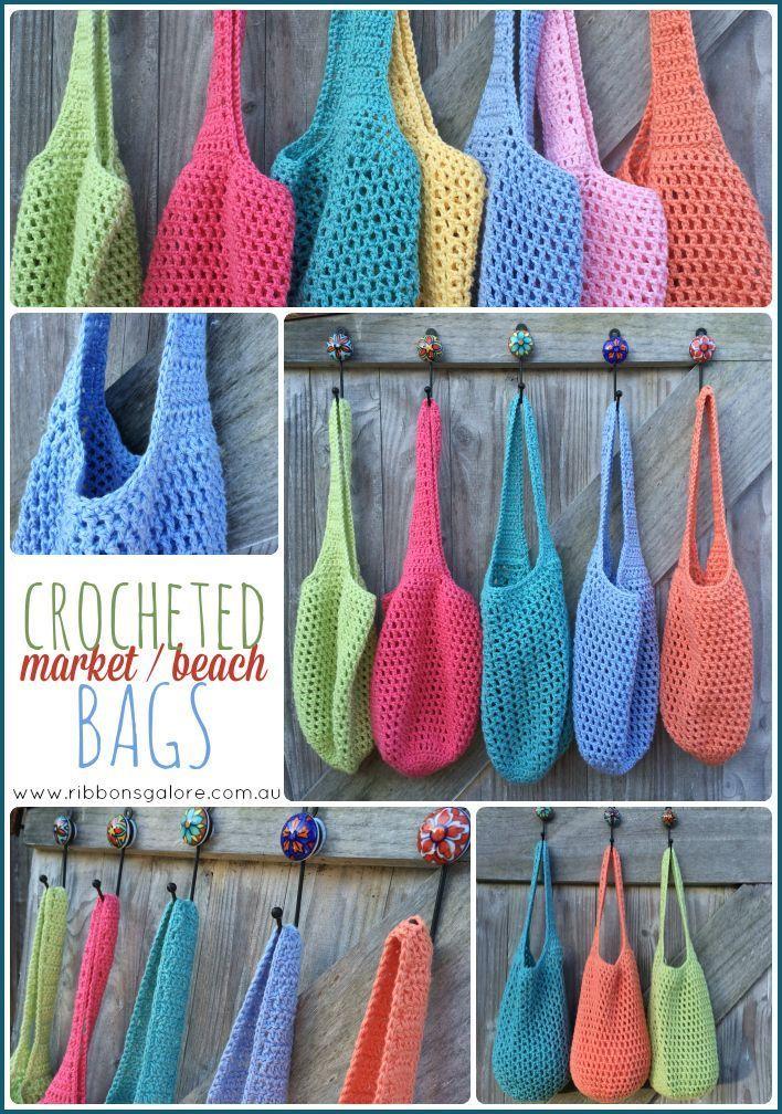 Häkeln Sie Markt / Strand / Einkaufstaschen, handgefertigt aus 100% Baumwolle …