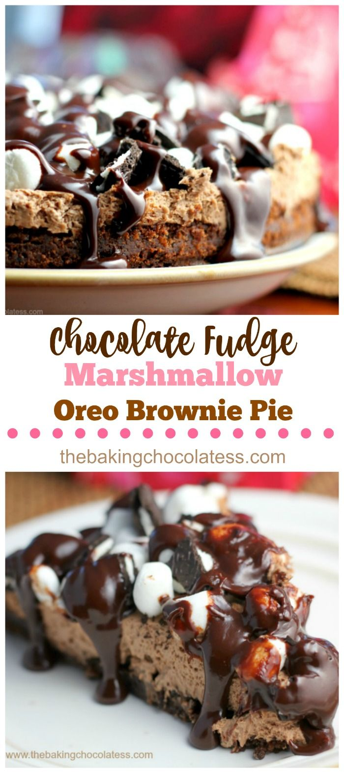Deser williams pictures to pin on pinterest - Chocolate Fudge Marshmallow Oreo Brownie Pie