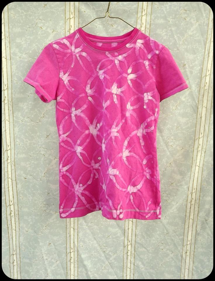tie dye Batik T-Shirt - Women's/Juniors Small or Girls' XL - Pink - Hand Dyed - Flowers. $22.00, via Etsy.