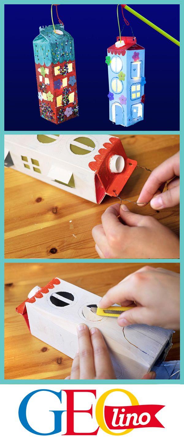 Wir zeigen euch, wie ihr Laternen basteln könnt - und zwar aus Milchkartons! #upcycling #bastelnmitkindern #basteln #laternen #bastelnmitpapier