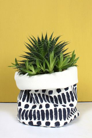 Indigo Dot Dash Print Canvas Storage Pots by Bohemia Design. Canvas Storage Pots from Bohemia Design's hand block print collection. Handmade from a reversible double-layer of heavy weight cotton canvas.