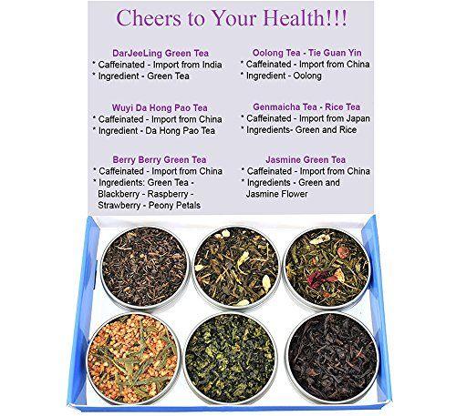 Tea Sampler  Green Tea  Caffeinated  Gift Box  Oolong  Jasmine Tea  Berry Tea  Genmaicha Tea  DaJeeLing Tea  Tea  Loose Tea  Loose Leaf Tea * Learn more by visiting the image link. Note: It's an affiliate link to Amazon.