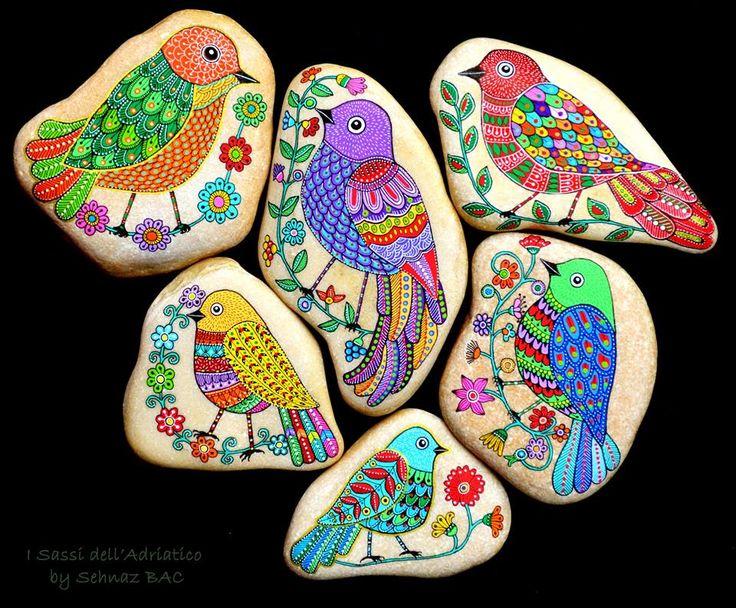 Birds / piedras pájaro  #paintedstones