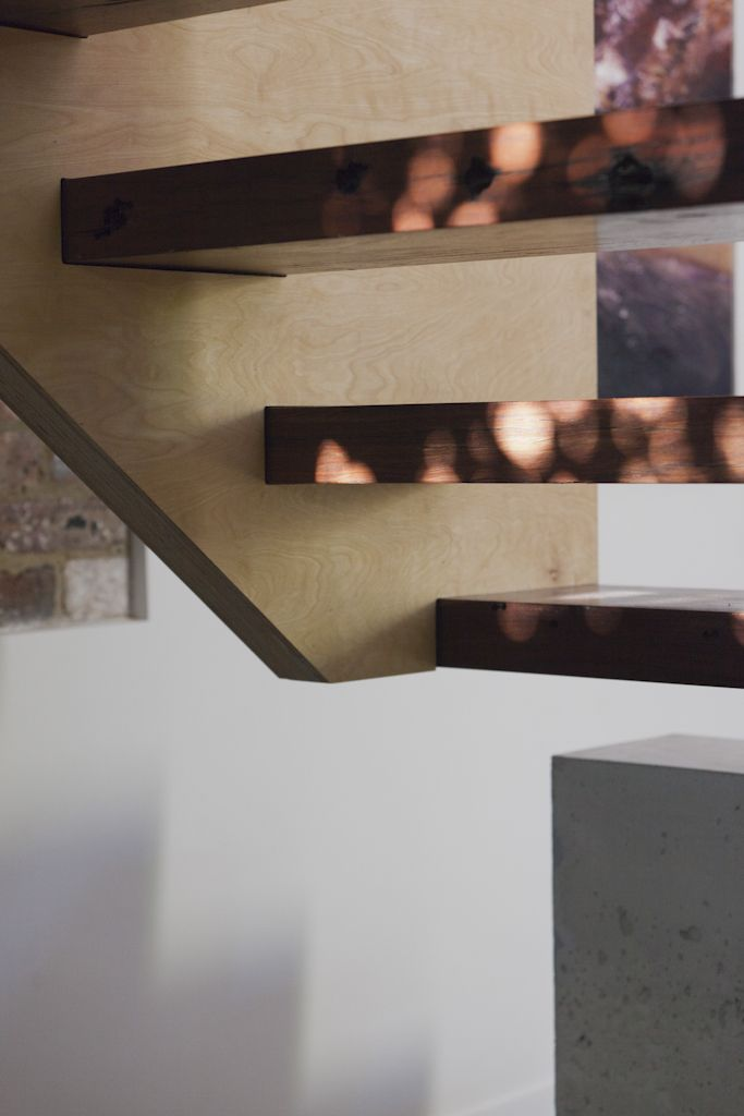 (c) Brett Boardman  Architecture, Stairs, Timber, Detail, Shadows, Light, Concrete, Plywood  http://www.samcrawfordarchitects.com.au/campbell-house-2/#