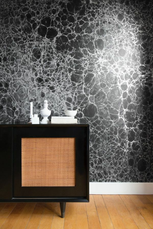 Pattern wallpaper black white imitation Dresser
