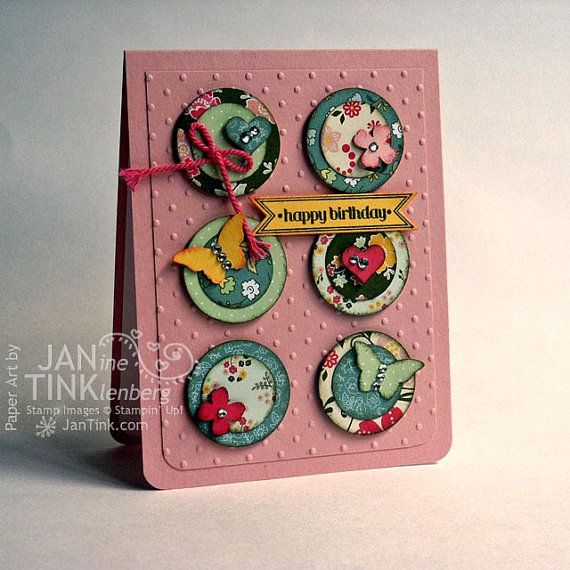 Flowers Hearts and Butterflies Happy Birthday Greeting by JanTink, $5.95