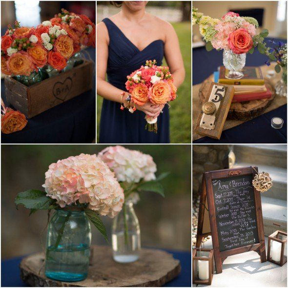25 best ideas about coral wedding colors on pinterest for Navy blue wedding theme ideas
