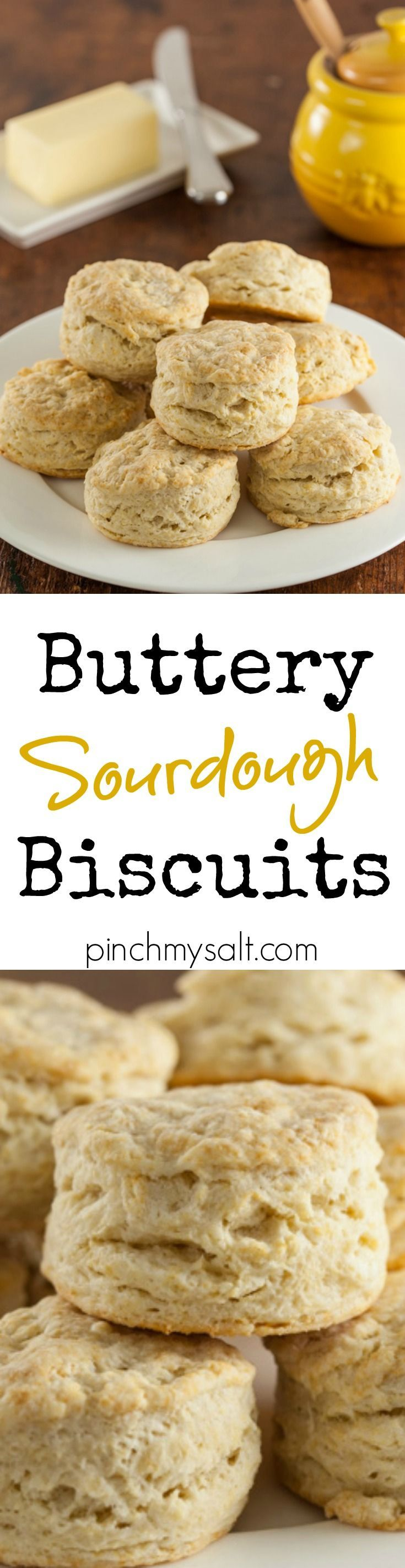 These quick, easy, and buttery sourdough biscuits are the perfect way to use up some sourdough discard when feeding your sourdough starter. | http://pinchmysalt.com