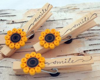 Decorative Clothespins with Magnets, Paper Quilling Sunflower, Hand Stamped 'smile', Set of 3