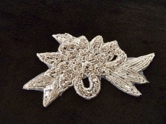 Bridal sash applique rhinestone applique beaded by bohica01, $12.00