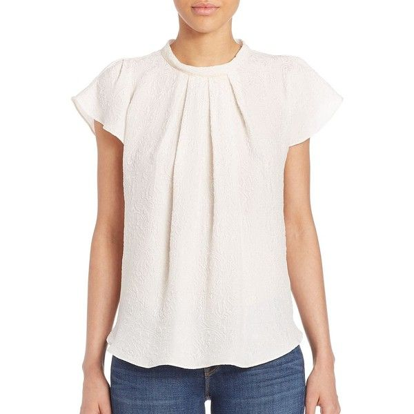 L'AGENCE Thimio Short-Sleeve Silk Blouse ($110) ❤ liked on Polyvore featuring tops, blouses, contemporary sp - workshop, white, white short sleeve blouse, short sleeve silk blouse, short-sleeve blouse, white silk blouse and white blouse