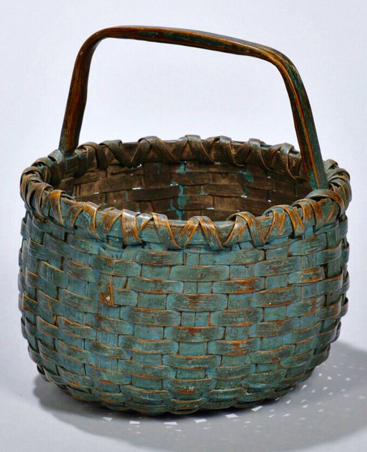 Skinner's - The Personal Collection of Lewis Scranton, Auction 2897M. May 21, 2016. Lot: 347. Estimate: $400-600. Realized: $7,500 !! Description: Small Blue-painted Woven Splint Basket, America, 19th century, ht. 7, dp. 6 in.