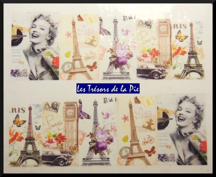 STICKERS ONGLES WATER DECAL (x10) - Nail art - Maryline & tour Eiffel