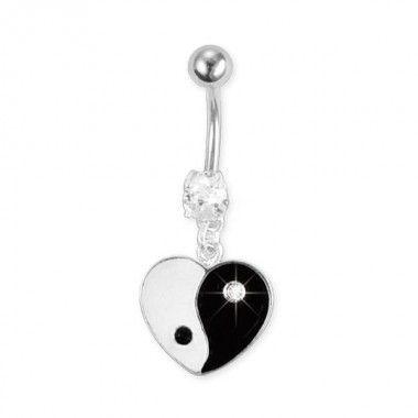 Piercing de ombligo con corazón Yin Yang
