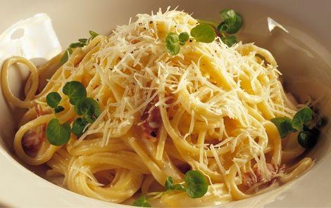 Spaghetti med bacon og ostesauce Spaghetti carbonara smager dejligt året rundt og er en nem og hurtig hverdagsret.
