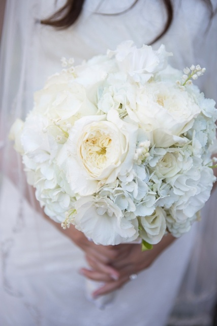 Bridal Bouquet : Hydrangea / Lisianthus / Garden Roses / Spray Roses / Lily of the Valley