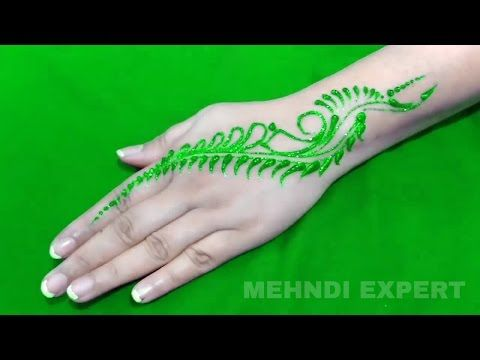 New Easy and Quick green color Glitter Mehndi Design for Parties ★ step by step tutorial - YouTube