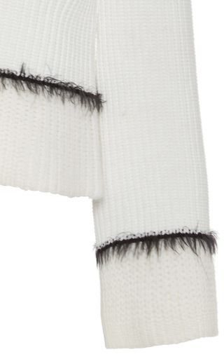 This **Derek Lam 10 Crosby** sweater features a slight flare fit and a black mohair trim.