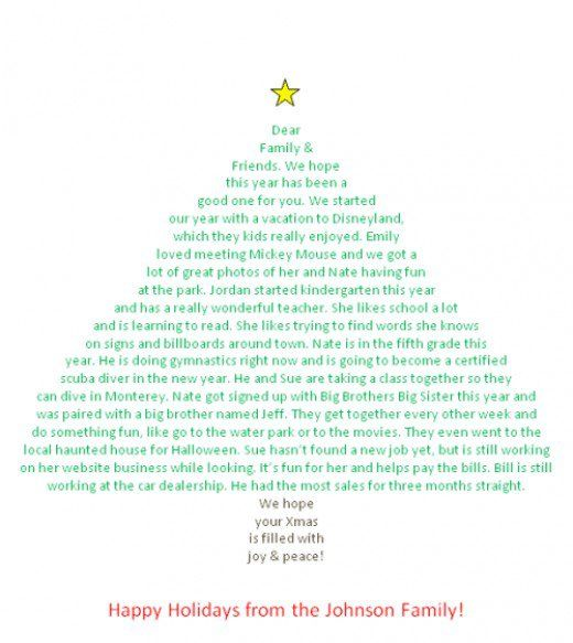 Need a creative Christmas letter idea? Try making a Christmas letter in the shape of a tree using Microsoft Word.