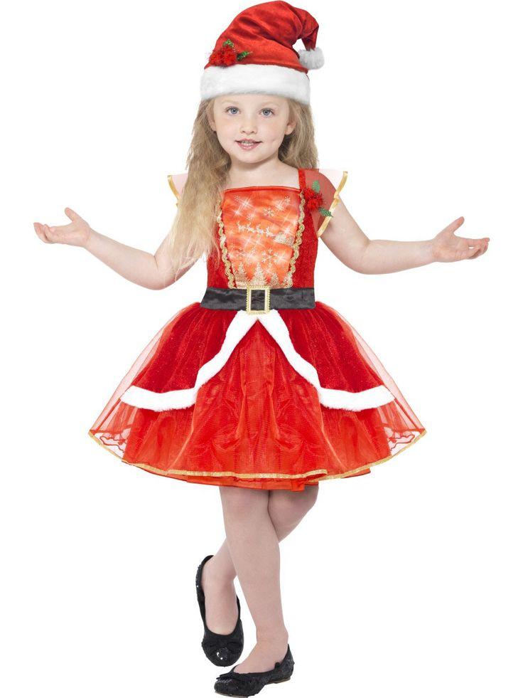 Rode lichtgevende kerstjurk met muts voor meisjes