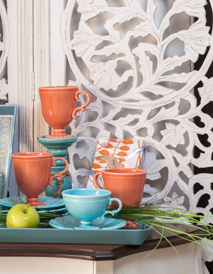 Orange and Turquoise Royal Cups - Only at Chicville.ro