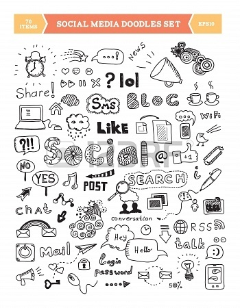 Hand drawn vector illustration of social media doodles elements Isolated on white background