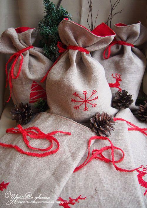 Мешочки льняные, новогодние / Christmas bags