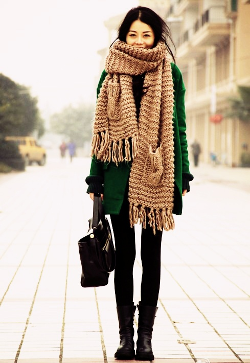 chunky pocket scarf. Green jacket. #fall #winter