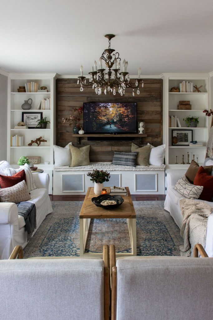 Rustic Traditional Fall Living Room Shades Of Blue Interiors Living Room Decor Traditional Earth Tone Living Room Living Room Shades