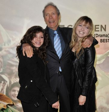 Clint Eastwood (Center) with his daughters, Morgan (L) and Francesca