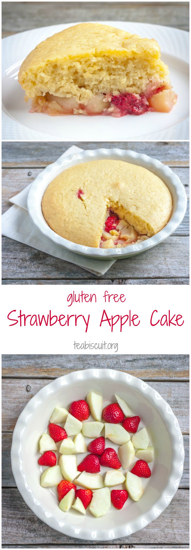 Beautifully moist Gluten Free Apple Cake with Strawberries, perfect for breakfast or afternoon tea! | teabiscuit.org
