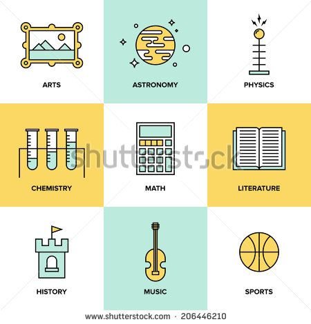 Flat line icons set of education main subjects, schooling symbol and learning elements, studying and educational objects. Flat design style modern vector illustration concept.