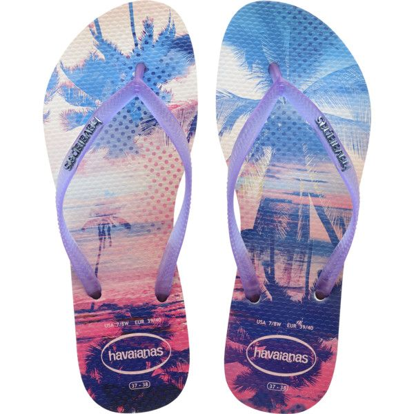 Havaianas Slim Paisage Flip Flops ($32) ❤ liked on Polyvore featuring shoes, sandals, flip flops, beach shoes, strap sandals, havaianas, havaianas flip flops and print shoes