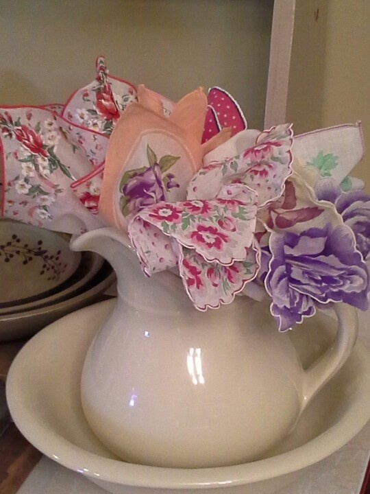 A nice way to display vintage hankies  - in a vintage pitcher and basin. Hankies @ http://www.nanaluluslinensandhandkerchiefs.com/Ladies_New_and_Vintage_Handkerchiefs_Hankies_s/1921.htm