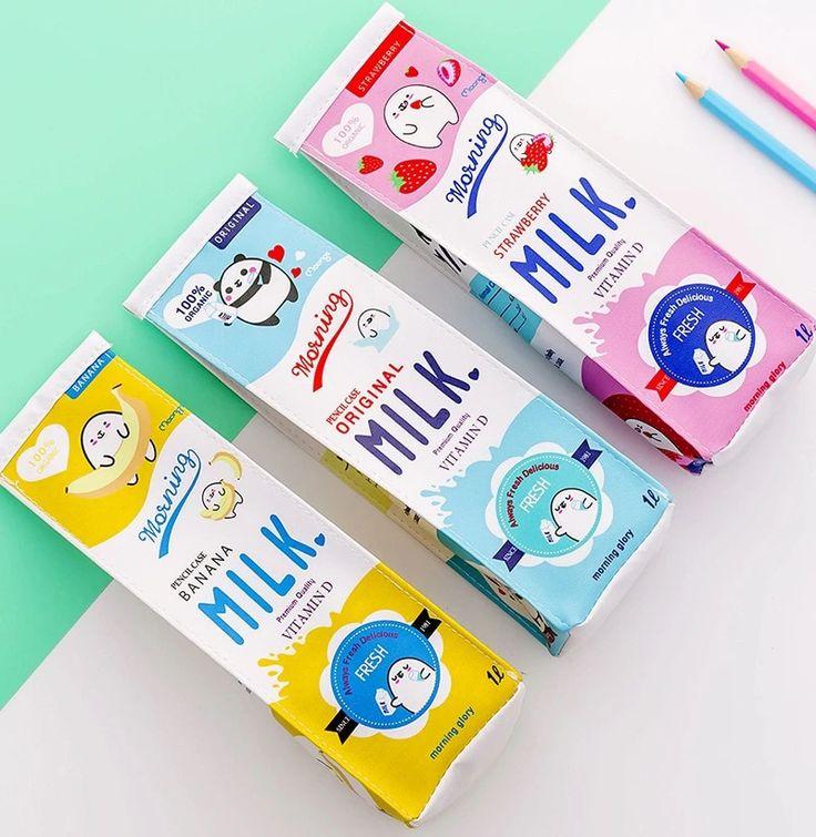 Cute korea milk carton pencil case artisthue in 2020