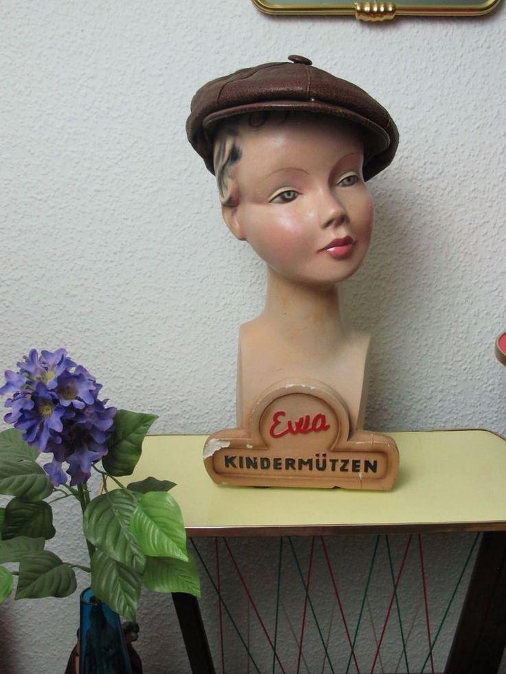 20's-30's Vintage Antique Art Deco Child Mannequin Bust Head Hat Stand Germany
