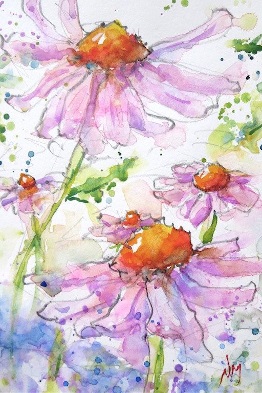 """Hand Painted Original Watercolour Painting of beautiful flowers open to the sun, floral, pink, orange, cone - 5x7""""painting with 8x10""""mat 