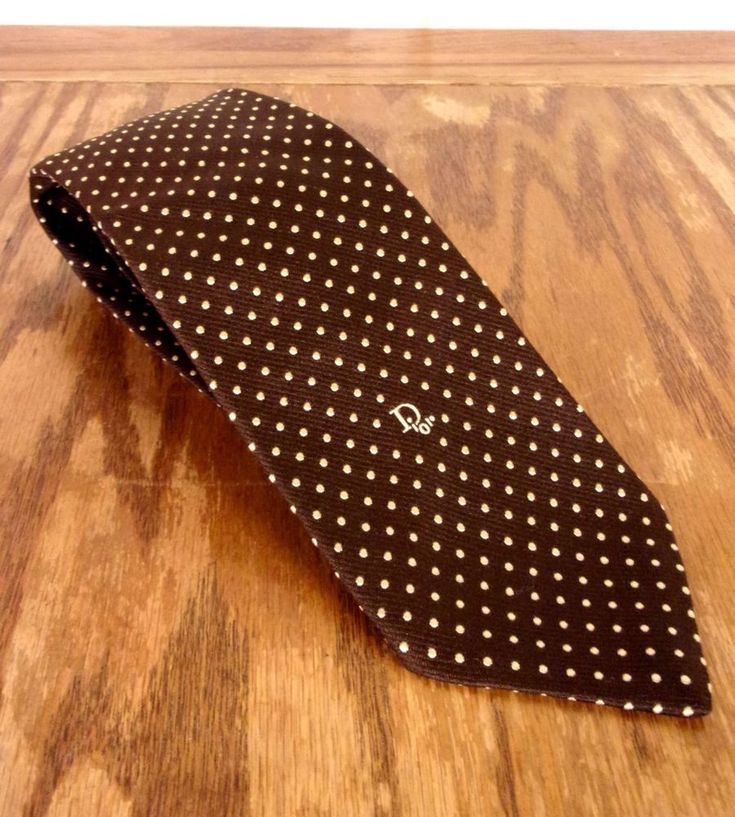 Vtg Christian Dior Brown White Polka Dot Spell Out DIOR