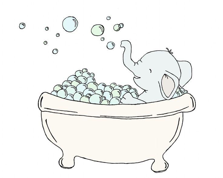 Bathroom Art  Elephant Bubble Bath  Elephant by SweetMelodyDesigns, $10.00