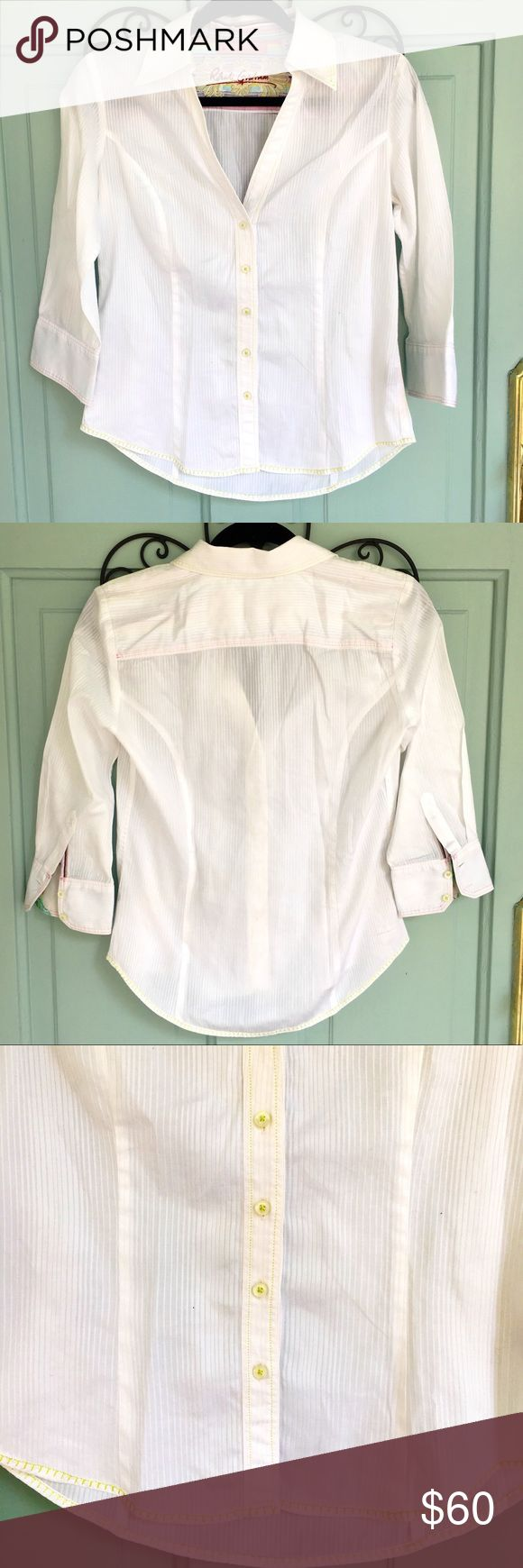 Robert Graham White Button Up with Embroidery Like new condition. 3/4 sleeves. Green and pink stitching. Embroidery on inside back. Adorable on. Make me an offer:) Robert Graham Tops Button Down Shirts