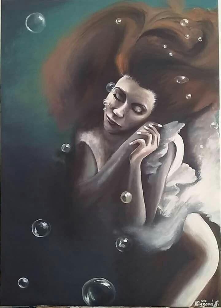 JK,pod vodou,žena,morská panna,akryl na plátne