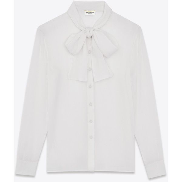 Saint Laurent Signature Lavallière Blouse ($685) ❤ liked on Polyvore featuring tops, blouses, collar blouse, silk blouse, silk top, yves saint laurent and collar top